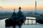 photo by: Louis Vest USS Battleship Texas and the San Jacinto monument